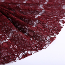 2017 fashion high quality wine red rose hand work nylon cotton flower embroidery african lace fabrics lace dress fabric