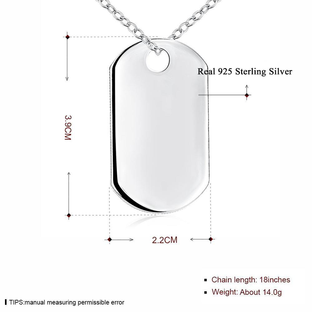 3aefd0ae62c0 De calidad superior de plata esterlina 925 colgantes de etiqueta de collares  para hombres joyería de