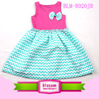 Wholesales! girl party wear frill turquoise chevron cotton peasant kids girl clothes summer 2014
