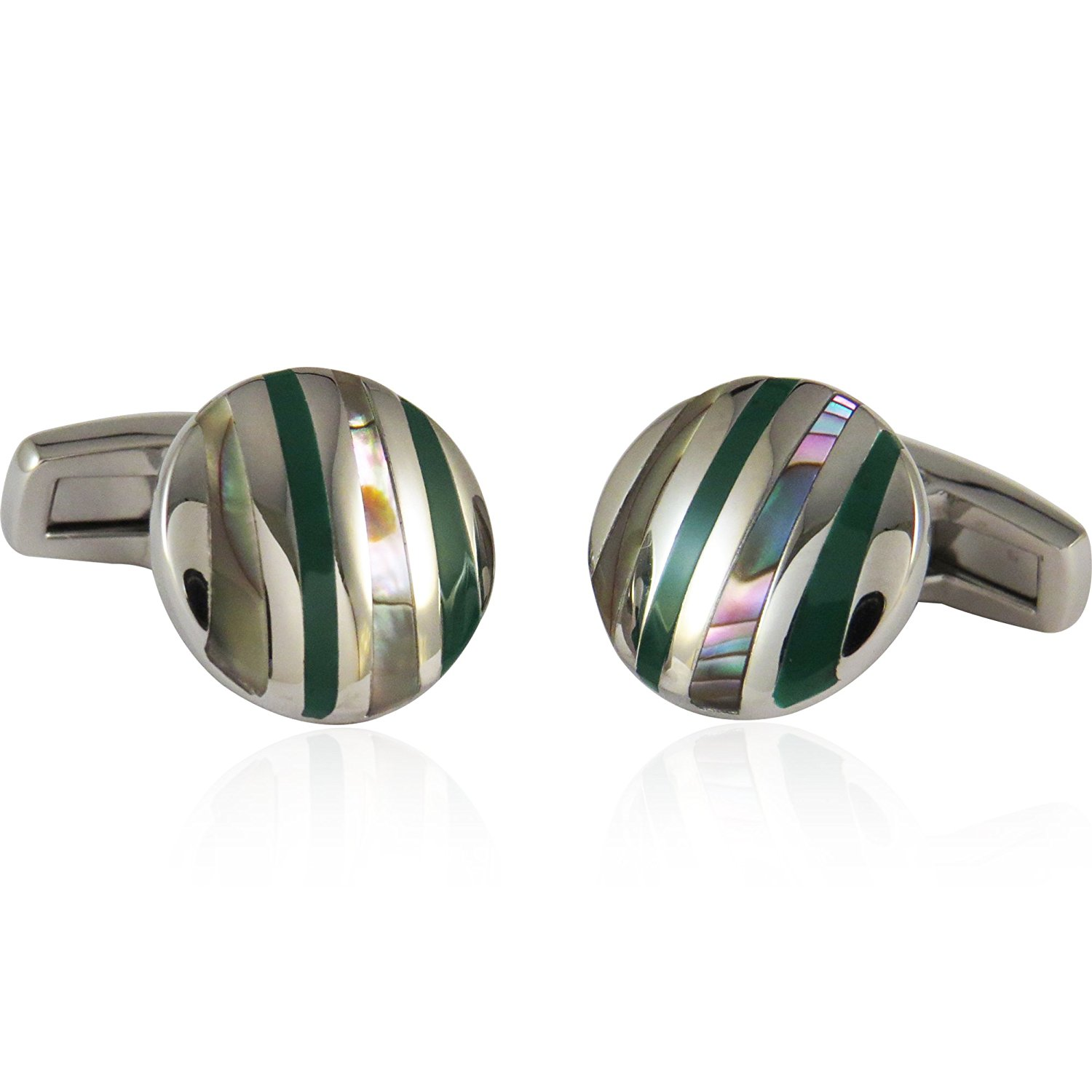 Cuff-Daddy Abalone and Green Striped Stainless Steel Cufflinks with Presentation Box