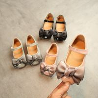 Wholesale little girl princess bow Shoes Children Baby Dance PU dress shoes