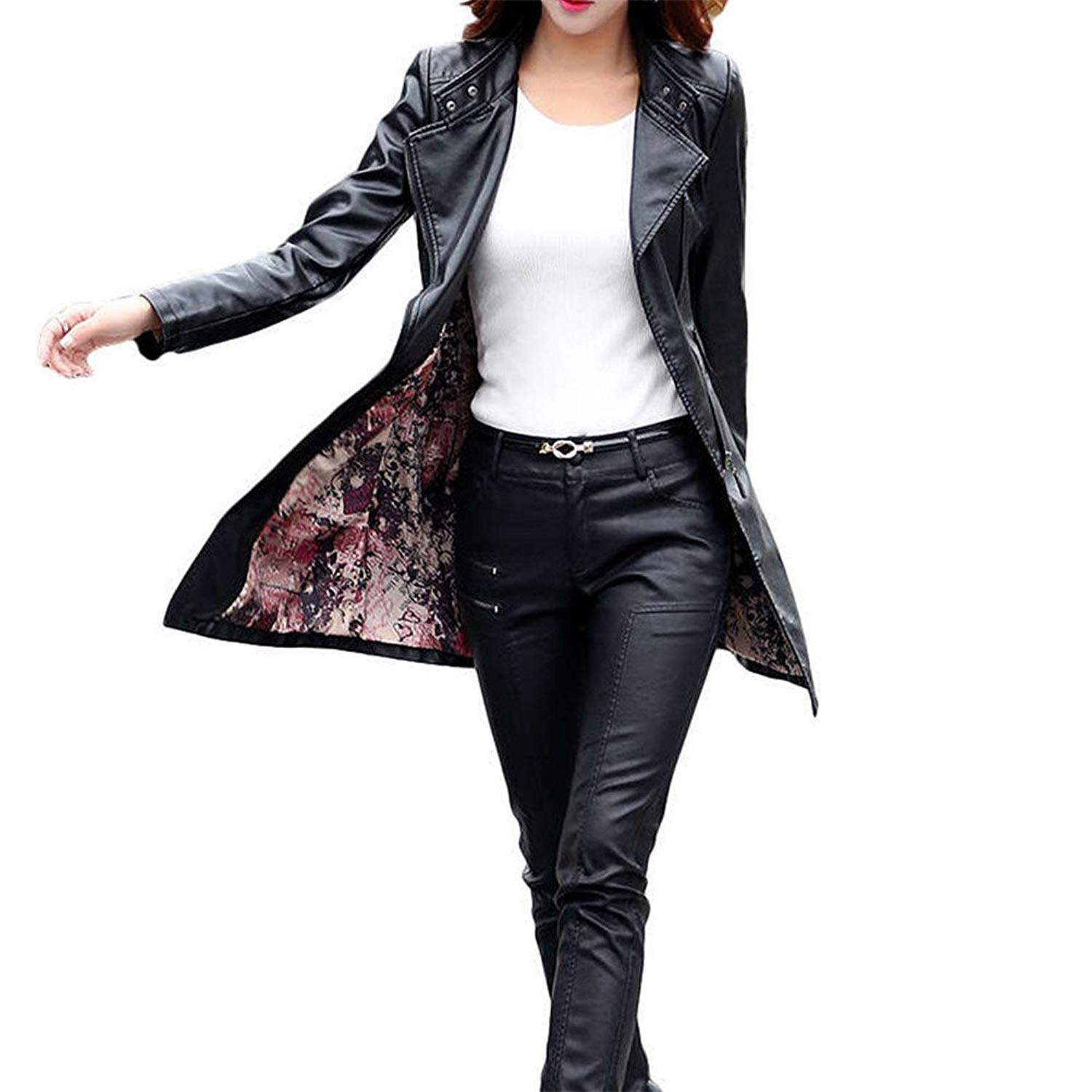 Faux Leather Jacket—— Women's Fashion PU Leather Jacket Suede Faux Leather Trench Overcoat for Women Plus Size Outwear Casual Motorcycle jacket Long Sleeve Lightweight Coat for Winter. (XXL, black)