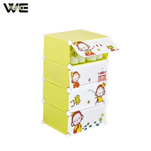 Wholesale cube interlocking shoe rack storage with cartoon door
