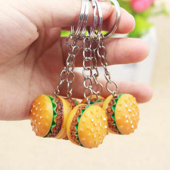 Resin promotional activities small gift simulation hamburger keychain