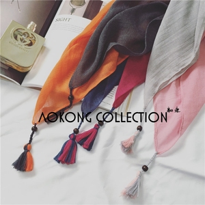 New 2 color joint solid plain tassel scarf