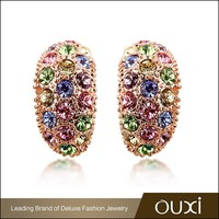OUXI factory wholesale avenue handmade colorful cheap crystal earring