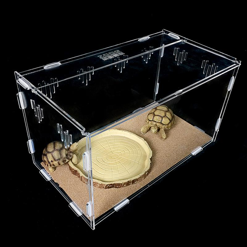Acrylic reptile turtle cage / spider feeding breeding box
