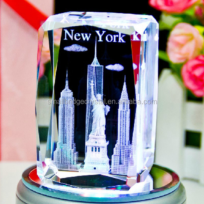 Wholesale K9 High Quality New York City Gift 3d Laser Engraved Crystal Block