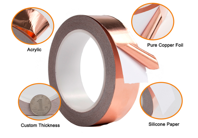 Electrical EMI Shielding Heat Resistance Tin Copper Foil Adhesive Sheet Tape with Acrylic Conductive