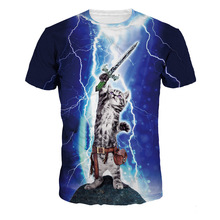 Lighting Cat 3D T-shirts Digital Print O-Neck Short Sleeve T-shirts Tops 2018 Blouses