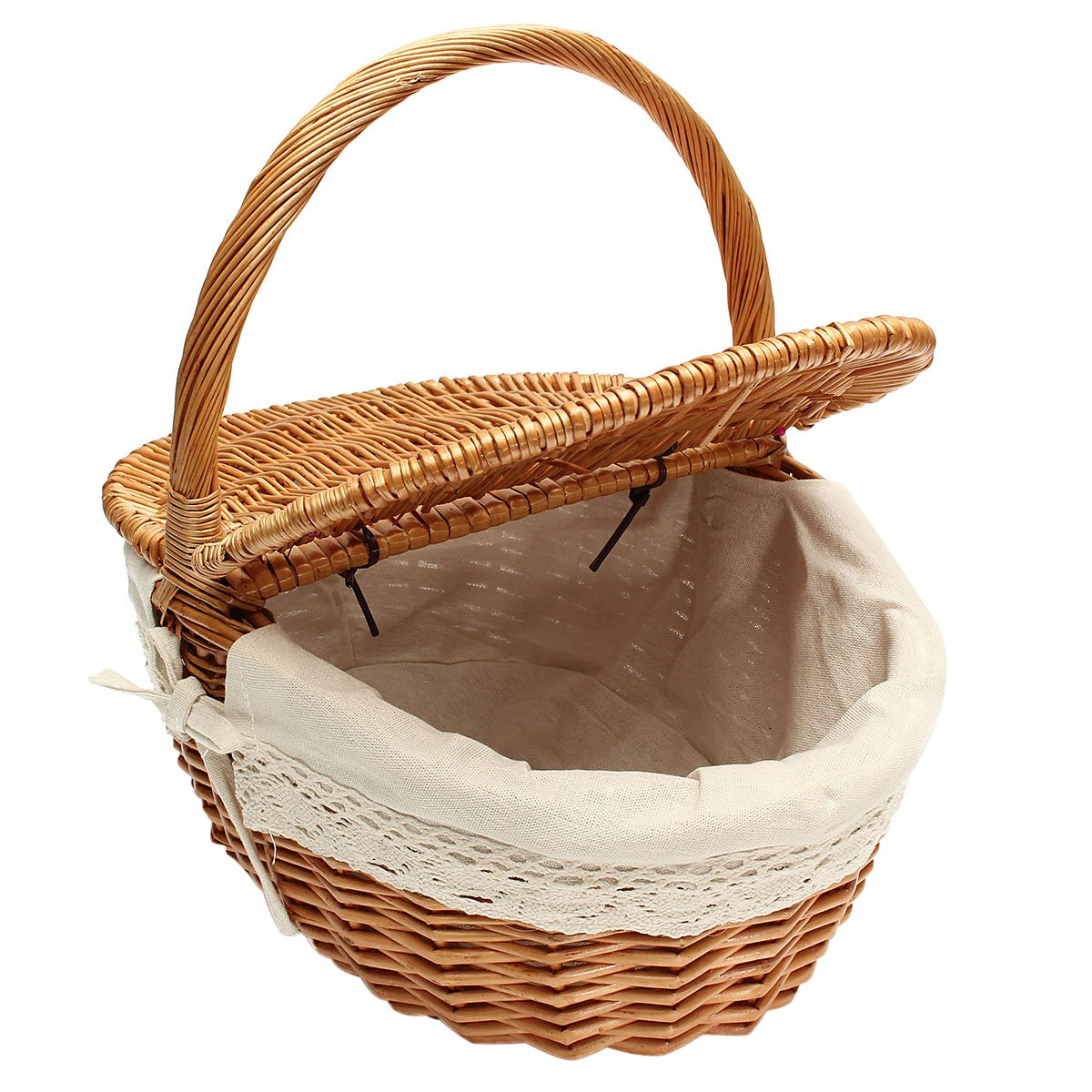 OUNONA Wicker Willow Picnic Basket Hamper Shopping Storage Basket with Lid and Handle and White Liner