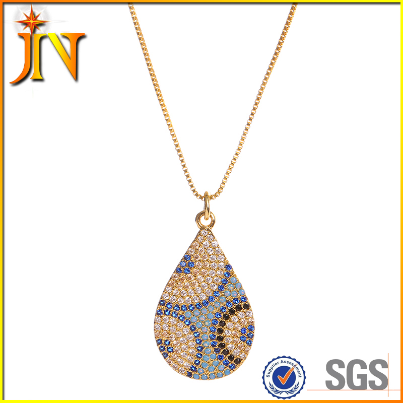 TN0132 JN wholesale Water droplets turkish luxury Muslim turquoise blue Evil eyes charm necklace & pendant for women Jewelry
