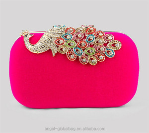 fashion 7 color diamond peacock evening velvet clutch bag with metal chain