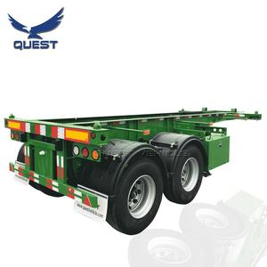 QUEST 2 3 Axles 20ft 40ft Skeletal Container Transport Container Chassis Semi Truck Trailer for sale