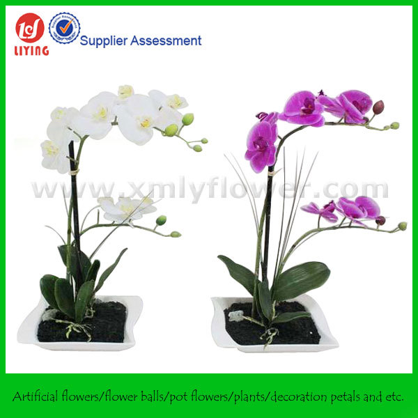 Hight Quality Artificial Orchid Flower Pot Silk Erfly Plant With Resin Vase For Home Decoration