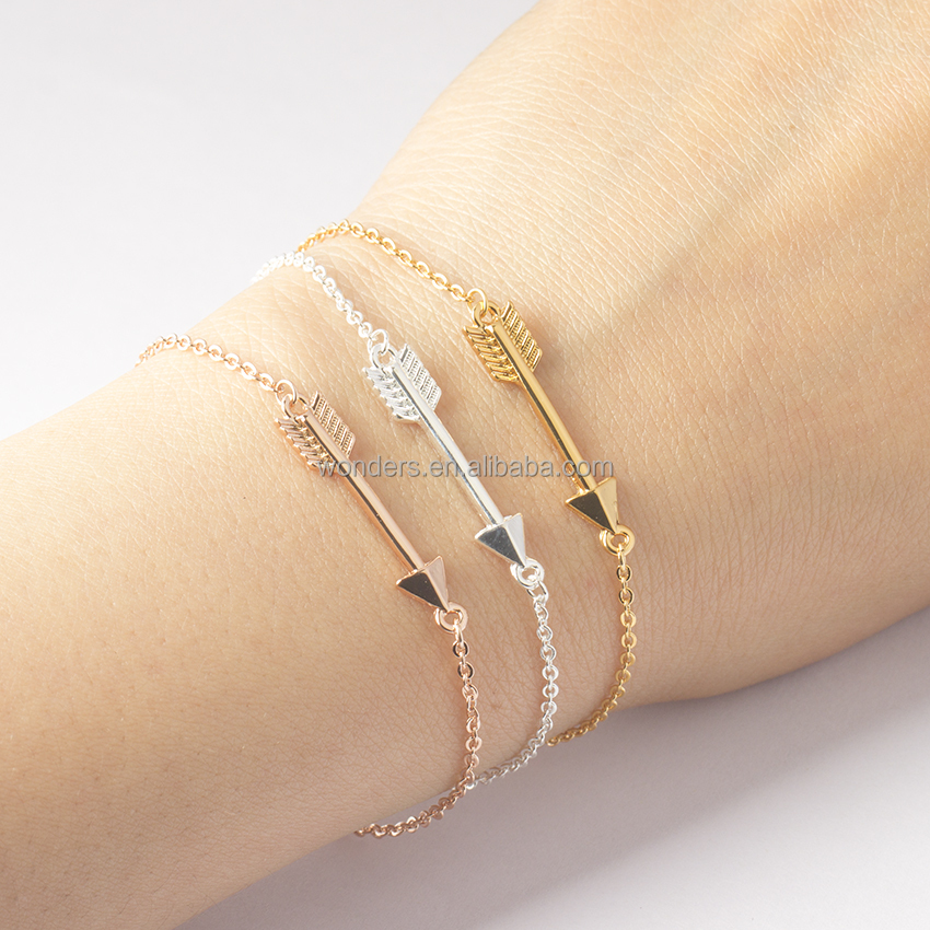 Long Arrow Rose Gold Plated Bracelet Charm Link Pulseras Mujer Accessories