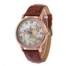 World Map Watch Leather Western Wrist Watches Vintage Copper Bracelet Watch