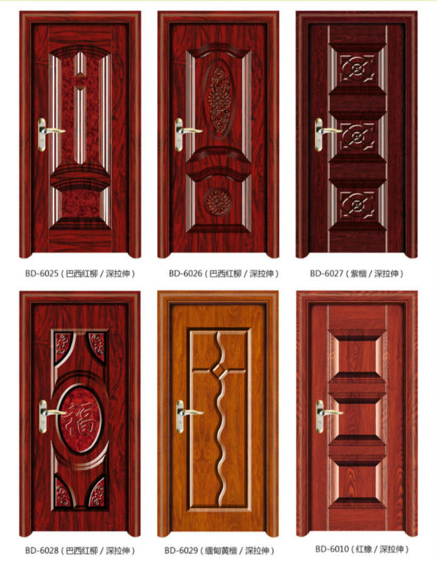 Modern solid steel wood panel interior single door design for Modern wooden main door design