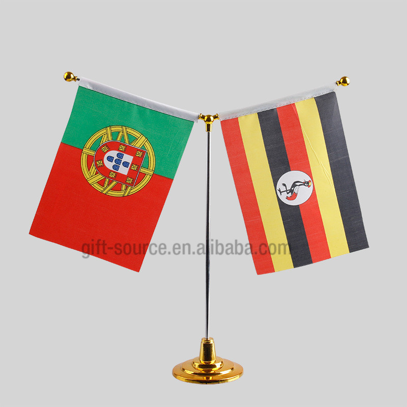 Custom promotional stick sublimated logo table flag pole with metal stand Europe flags
