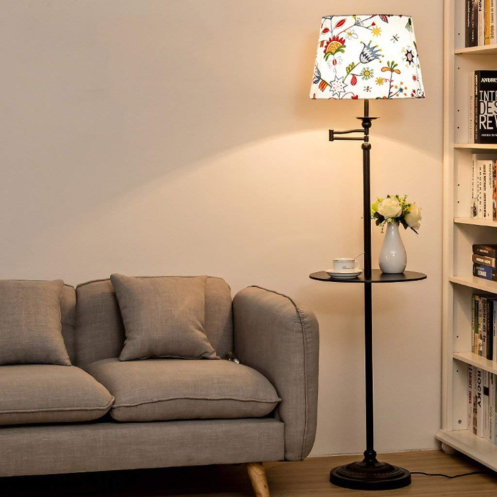 American Simple and Modern Style Creative Floor Lamp With an Integrated Coffee Table, Living Room Sofa Study Office Table Lamp Bedroom Bedside Floor Lamp, Fabric Lampshade, Iron Floor Lamp, E27