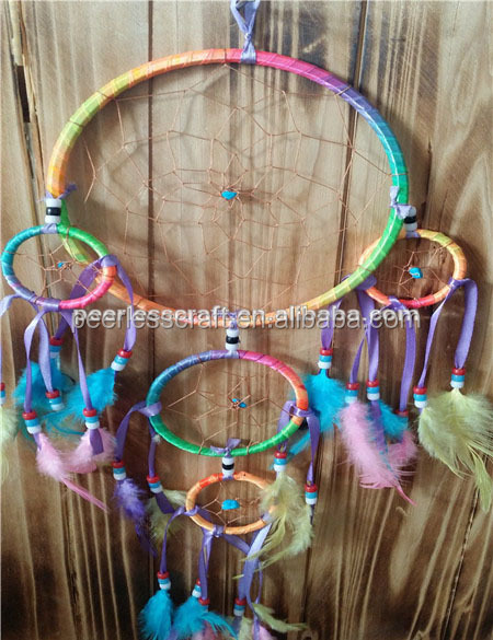 Small MOQ Colored Feather Rainbow Dream Catcher