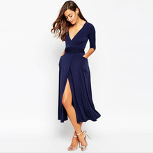 2016 fashionable a line navy blue long sleeve v neck long chiffon evening dresses with side slit formal prom gowns