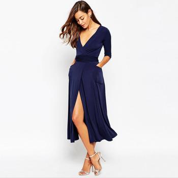 e712837a5 2016 de moda de una línea azul marino con cuello en v y manga larga de gasa