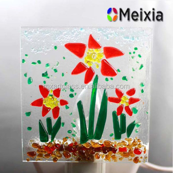 MX170174 Fused flower glass night light for Bedroom furnitures
