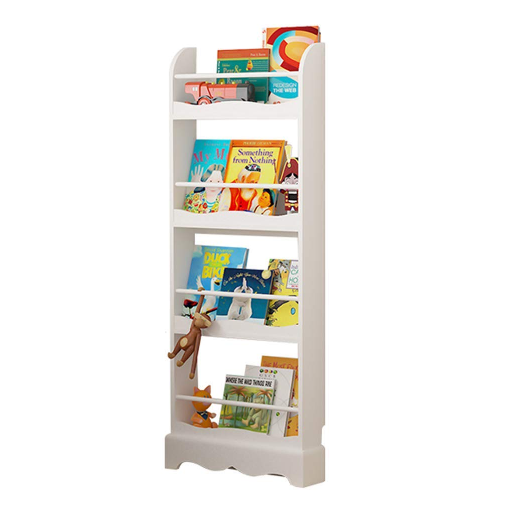 Bookcases Bookshelf Flooring Simple Bookshelf Solid Wood Shelf Picture Book Stand Solid Wood (Color : White, Size : 53x14x133cm)