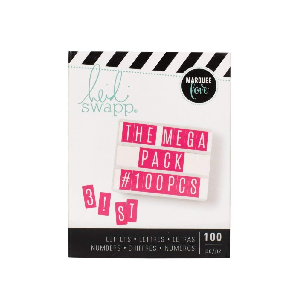 American Crafts Heidi Swapp Mini Lightbox Mega Alphabet Pack - Punctuations and Numbers - 100 Pieces - White On Pink Background
