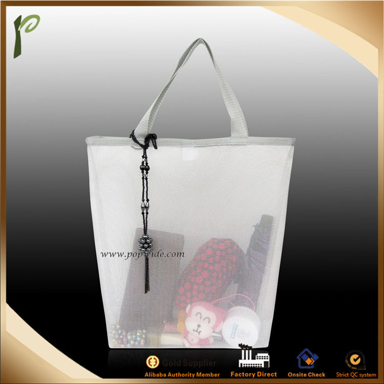 Popwide Large Mesh Transparent Beach Bag/plastic tote bag with zipper
