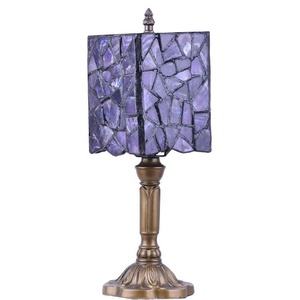 Fancy Amethyst Slice Crystal Lampshade Bedside Lamps for Hotel Bedroom