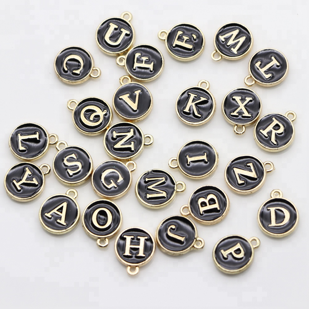 15*12mm DIY Alloy Bracelet Accessories White Enamel Small Alphabet Pendants, Metal Initial <strong>Charms</strong>, Round Gold Plate Letter Beads