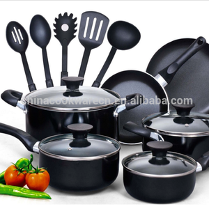 Eco-friendly and Popular 15 pcs aluminum alloy Non stick cookware set with scoops