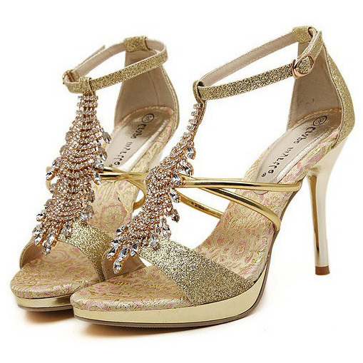 a25f8922ce46e Buy Genuine Leather Gold Diamond Sandals Club Leather Sexy High Heels  Sandalias De Plataforma Alto Women Platform Diamond Sandals in Cheap Price  on ...