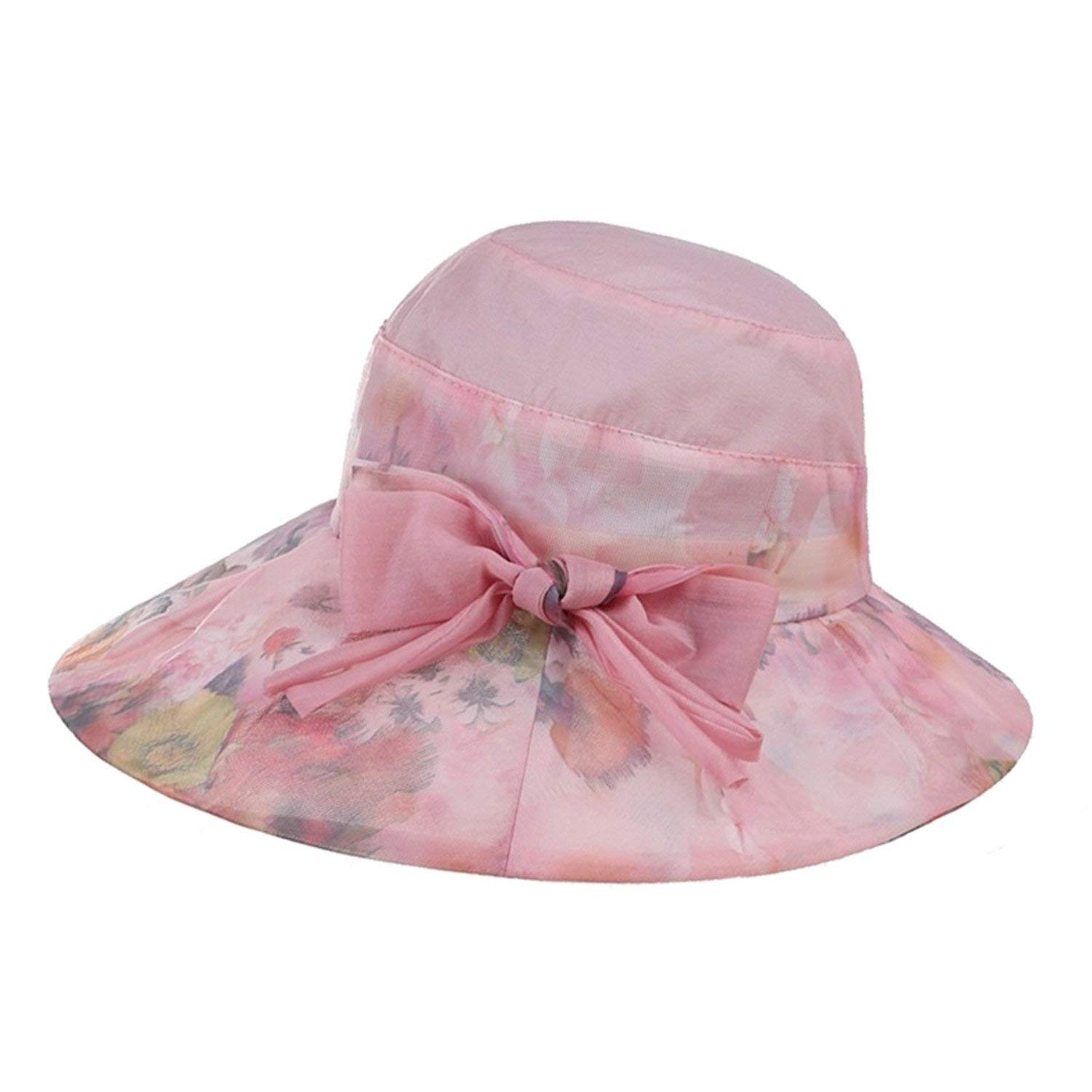 Get Quotations · Novel Women Sun Caps Purple Wide Brim Printed Flower  Panama Hats Female Elegant Bowknot Summer Beach 038adcc3f78