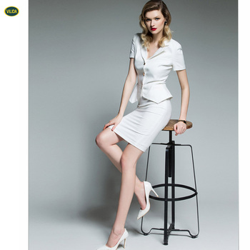 Oem Services 2017 Guangzhou Supplier Girls White Skirt Suits