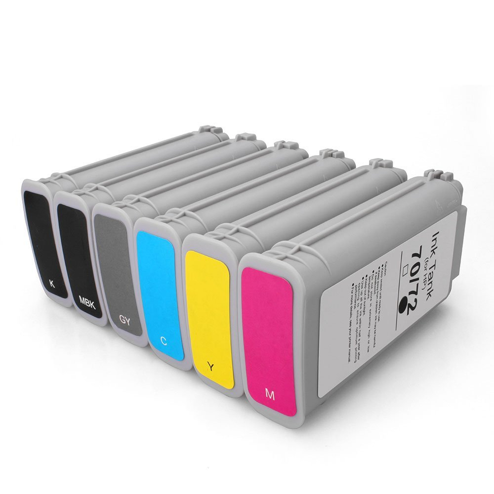 MIROO Compatible Ink Cartridge Replacement for 72 Ink Cartridge 130ML Use with designjet T1100 T1200 T1100ps T1120 SD-MFP T1120ps T2300 T610 T790 printer ect ( Pack of 6 )