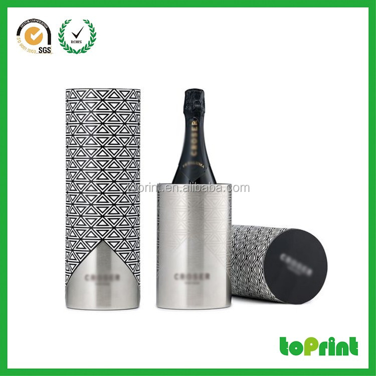 cylinder tube wine packaging gift paper box with wine packaging CMYK Printing