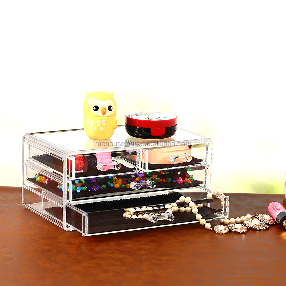 High quality acrylic makeup cosmetic jewelry display organizer box case