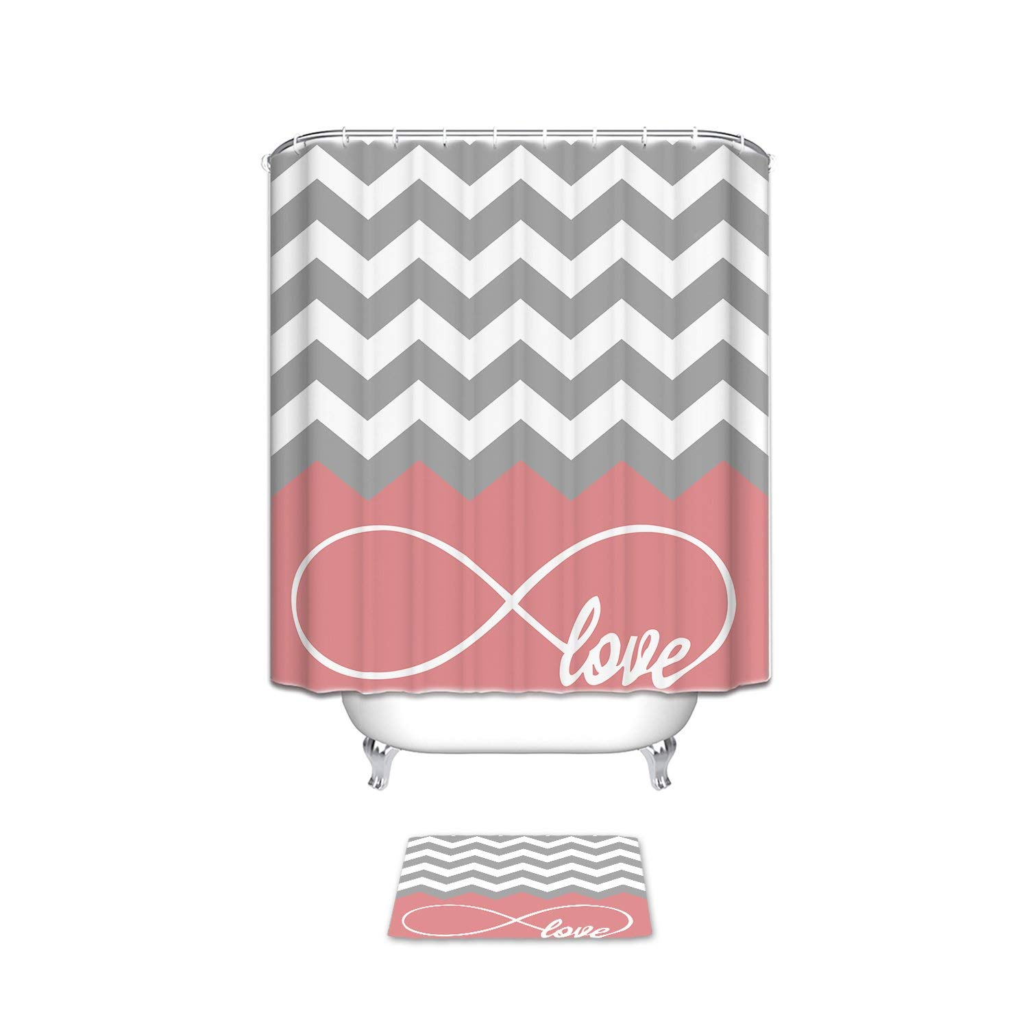 CHARM HOME Love Infinity Forever Love Symbol Chevron Pattern pink Grey White Waterproof Polyester Bathroom Shower Curtain and Doormat Sets