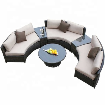 Outdoor Wicker Curved Sofas 6pcs Half-Circle Set