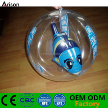 High quality 3D inflatable beach ball with cartoon fish inside for promotional toys