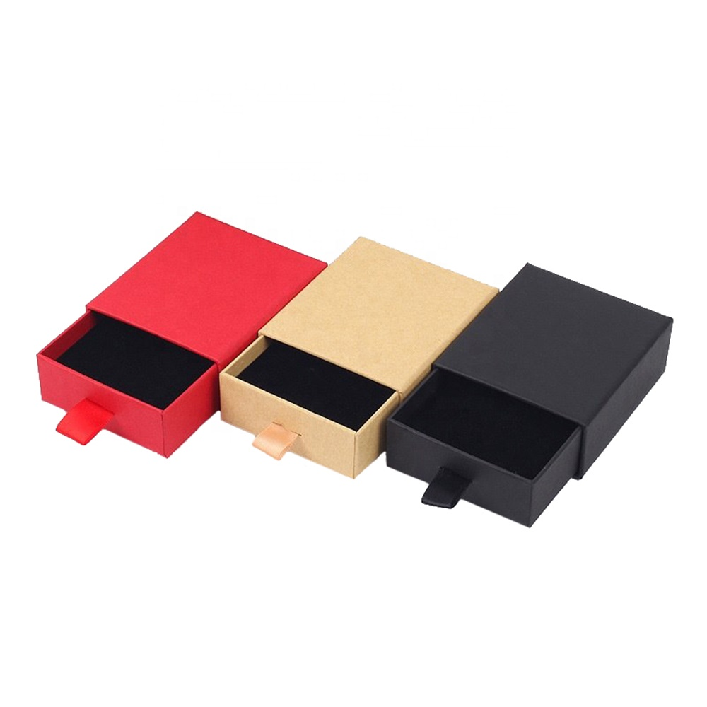 قوانغتشو tcs صغير أسود فاخر مخصص جامدة كرتون مجوهرات هدية التعبئة والتغليف الشريحة صندوق درج للورق مع الشعار