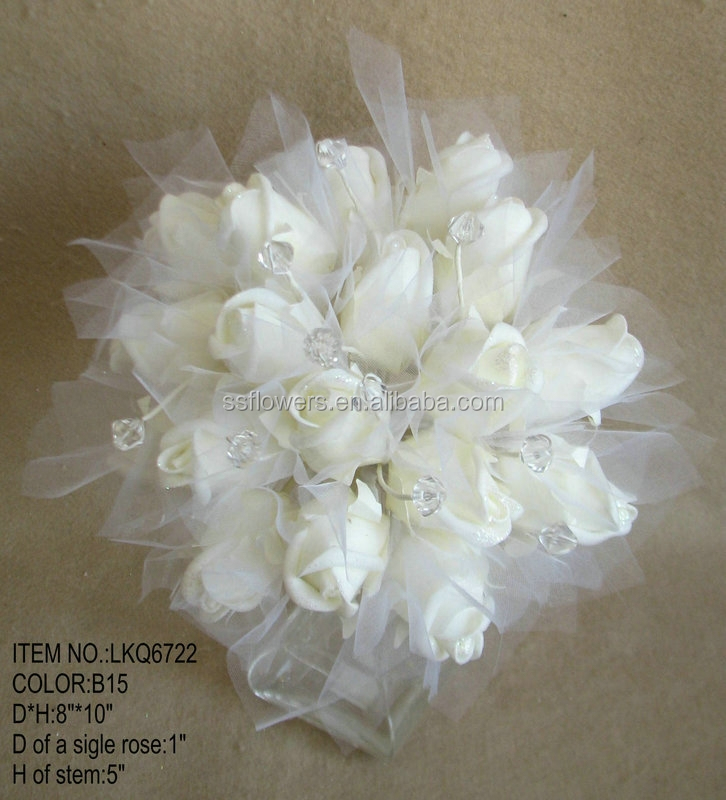 "Hot Sale Artificial PE Rose mesh Flower 10""PE Bouquet with crystal beads ornament For Wedding Decoration"