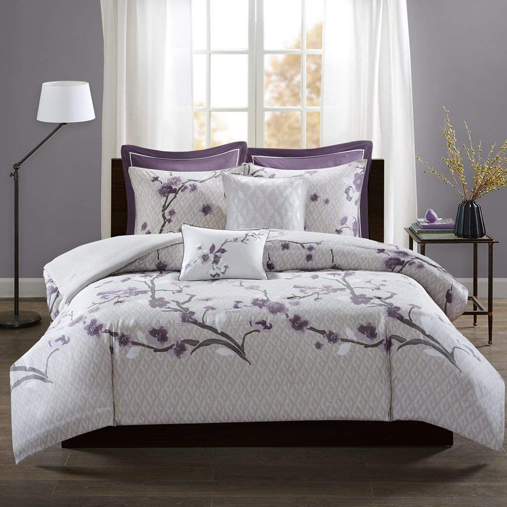 Madison Park Holly Duvet Cover Full/Queen Size - Purple, Grey, Geometric Floral Duvet Cover Set – 7 Piece – 100% Cotton Sateen Face, CVC Reverse Light Weight Bed Comforter Covers