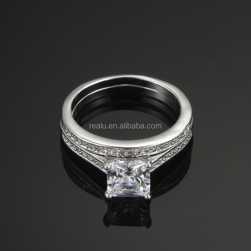 White Gold Plating Couple Ring Couple Platinum Rings ...