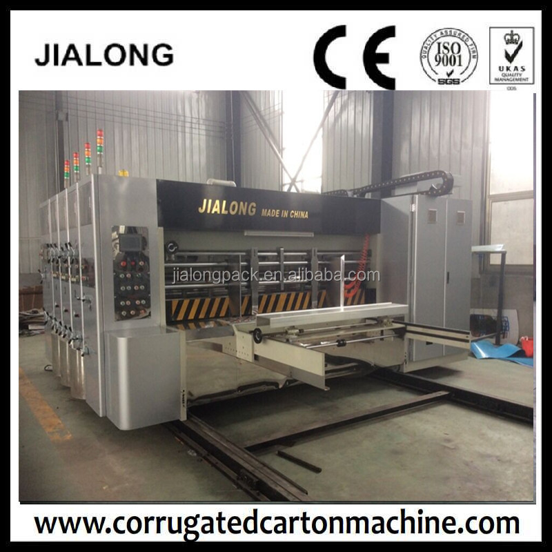 2017 dongguang Completamente Automatico Stampante Cartone Flexo Slotter Die Cutter/Cartonnage stampa Scatola stozzatrice con stacker