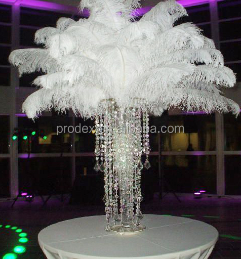 Pink ostrich feather centerpiece for wedding decoration
