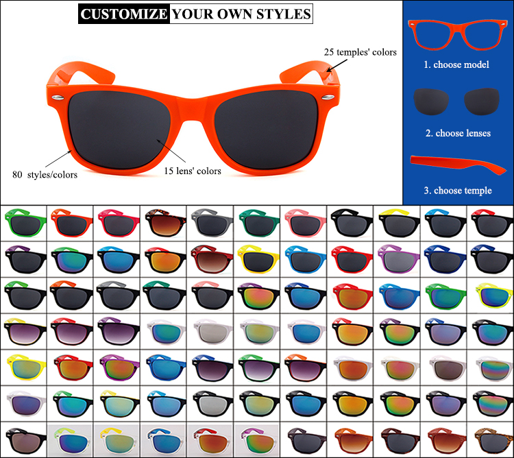 hot sale vintage logo printing gafas merry's recycled color plastic promotional sunglasses